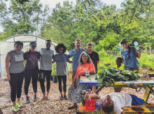 Participants with Ms. Linda Lee and community garden volunteers after working in the garden (3L Margeling Santiago, 1L Peyton Smith, 2L Daynica Harley, 1L Lauren Rolfe, 1L Barclay Mitchell, 1L Yazel Sepulveda).